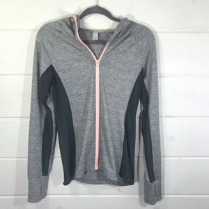 Forever 21 gray workout jacket sheer sides hooded